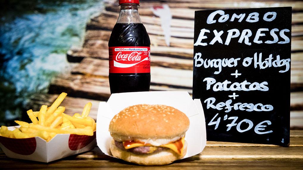 Pizzone, Combo express, Burger o hotdog+ Patatas fritas + refresco, 4,70€