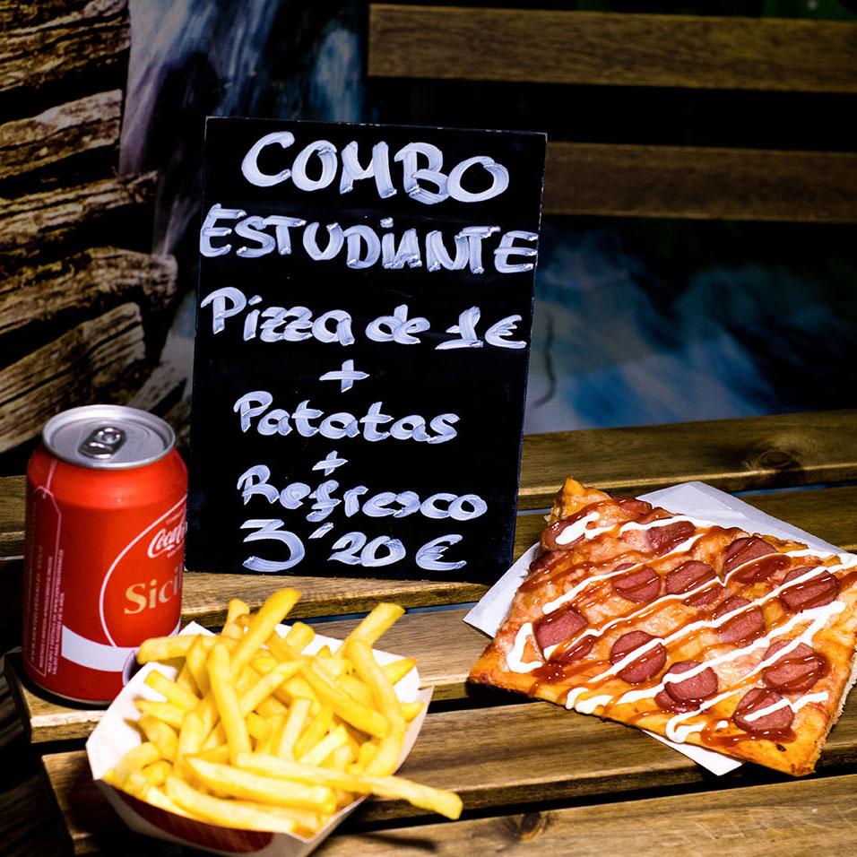 Pizzone, combo estudiante, Pizza de 1€, Patatas fritas y refresco.